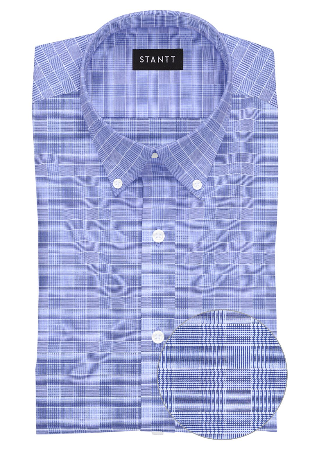 Navy Mini Prince of Wales Check: Button-Down Collar, Barrel Cuff