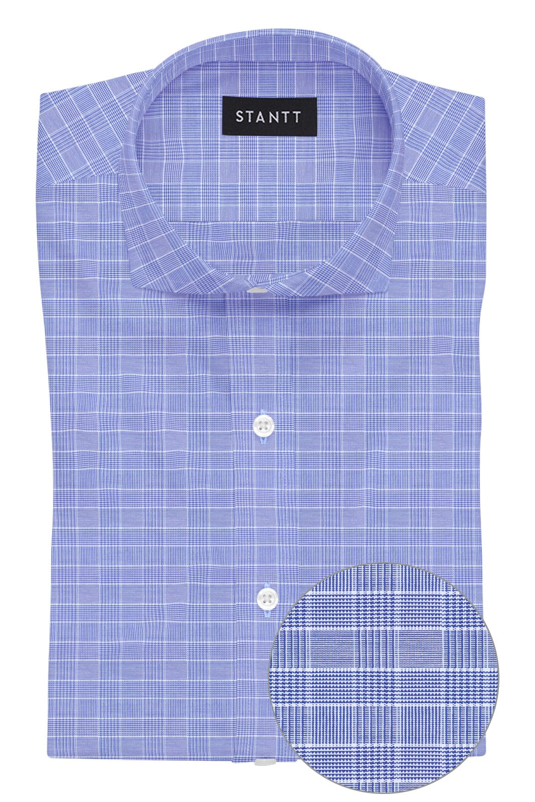 Navy Mini Prince of Wales Check: Cutaway Collar, French Cuff