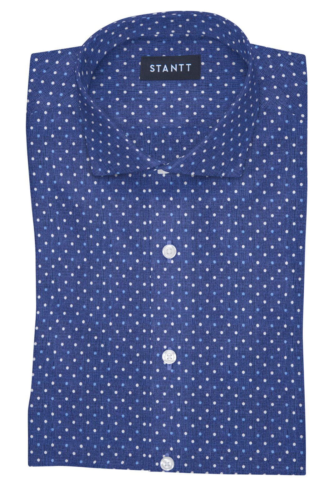 Navy and White Contemporary Dots: Cutaway Collar, French Cuff