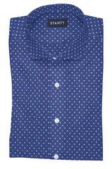 Navy and White Contemporary Dots: Cutaway Collar, Barrel Cuff