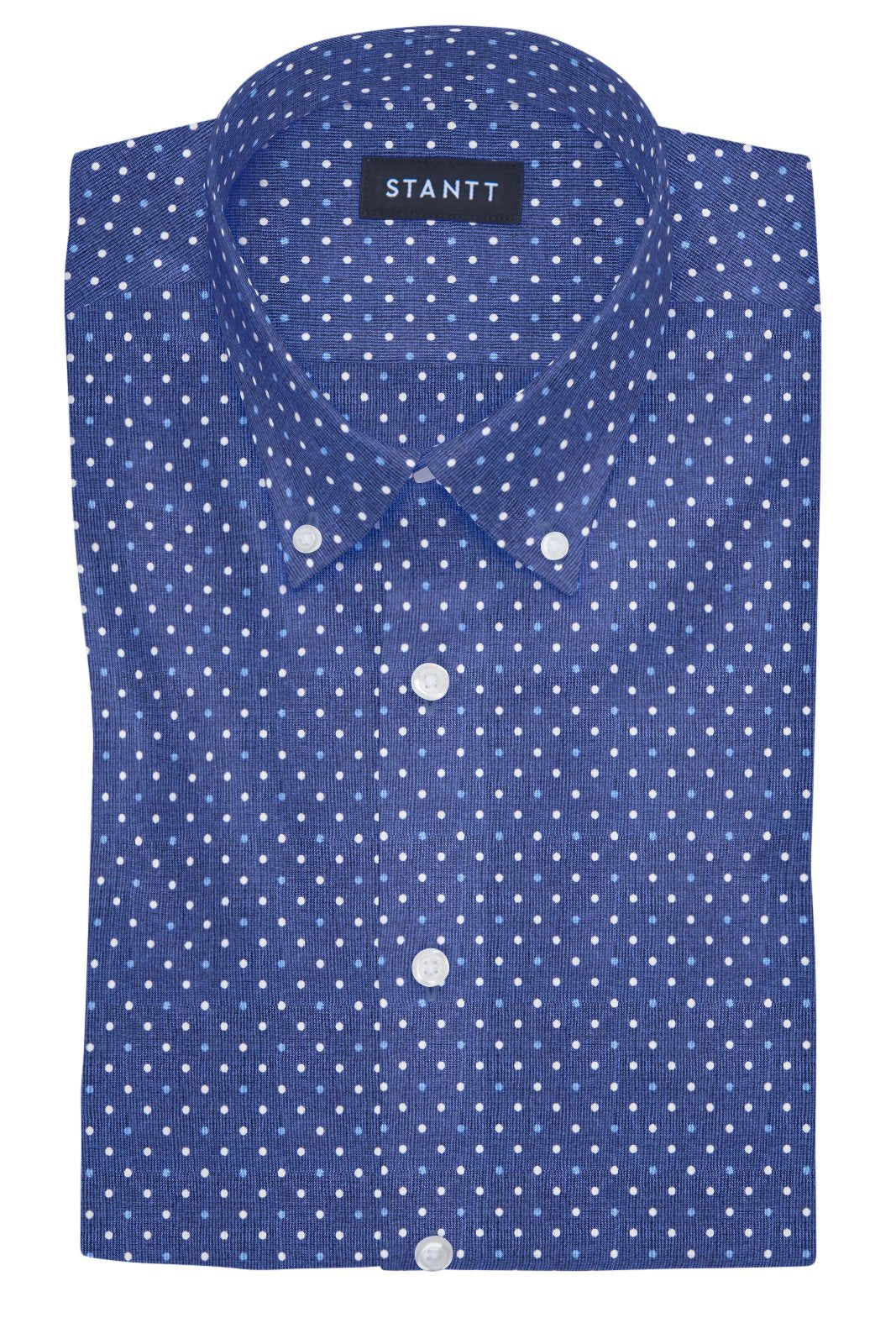 Navy and White Contemporary Dots: Button-Down Collar, Barrel Cuff