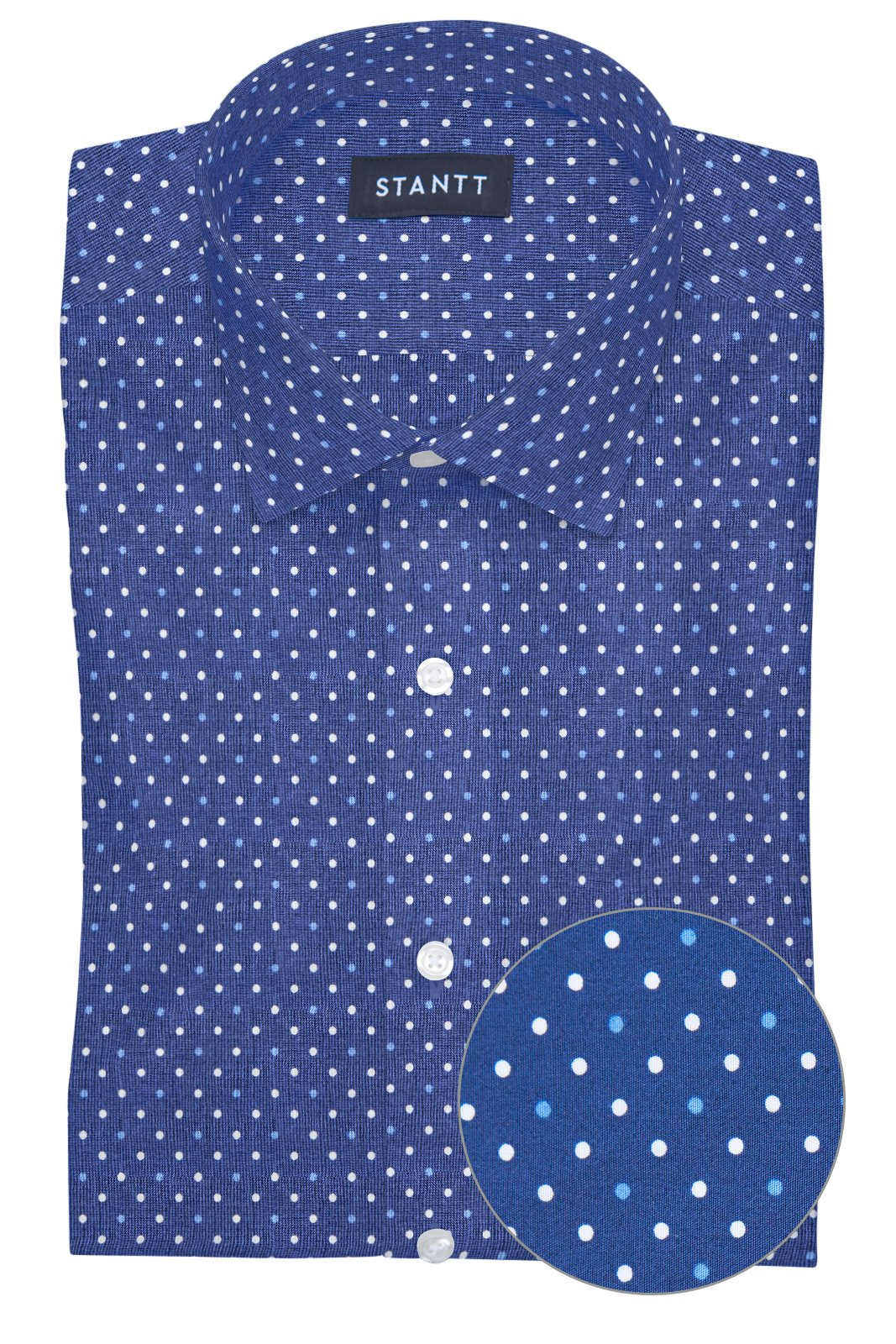 Navy and White Contemporary Dots: Modified-Spread Collar, Barrel Cuff