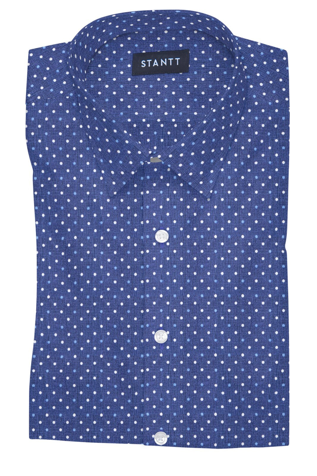 Navy and White Contemporary Dots: Semi-Spread Collar, French Cuff