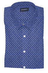 Navy and White Contemporary Dots: Semi-Spread Collar, Barrel Cuff