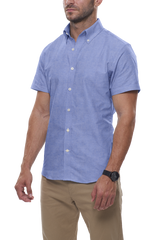 Summer Blue Cotton Linen: Semi-Spread Collar, Short Sleeve