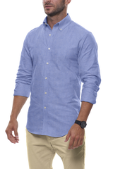 Summer Blue Cotton Linen: Semi-Spread Collar, Long Sleeve