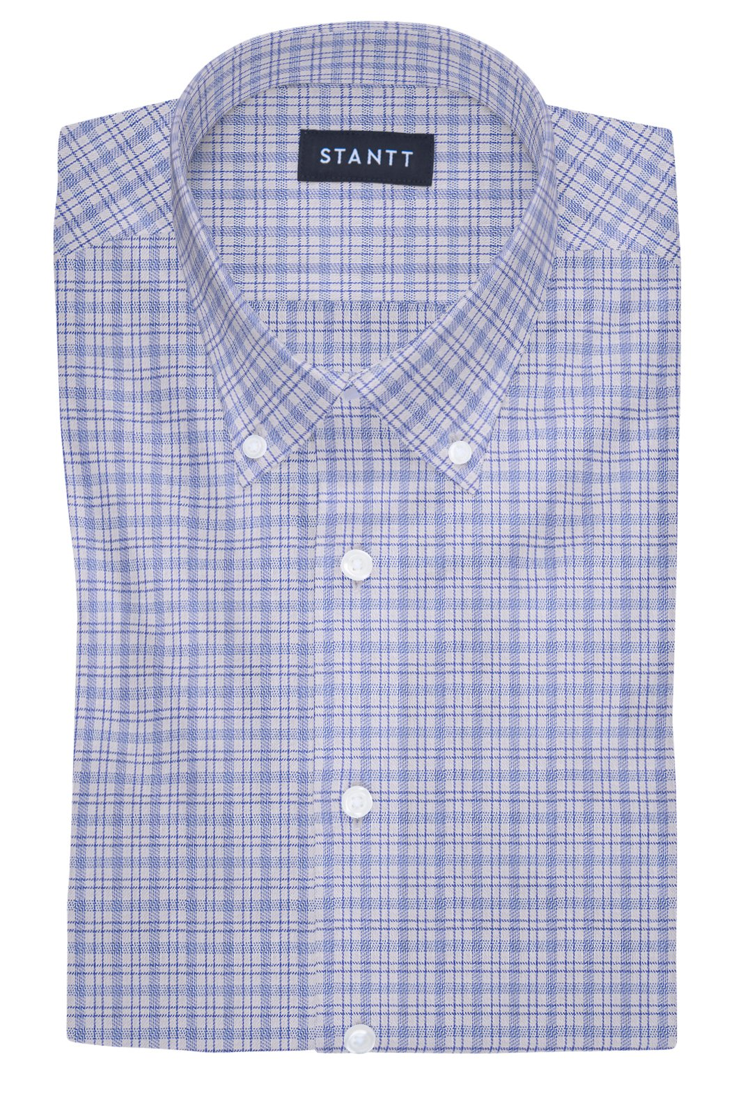 Performance Blue Sport Check: Button-Down Collar, Barrel Cuff