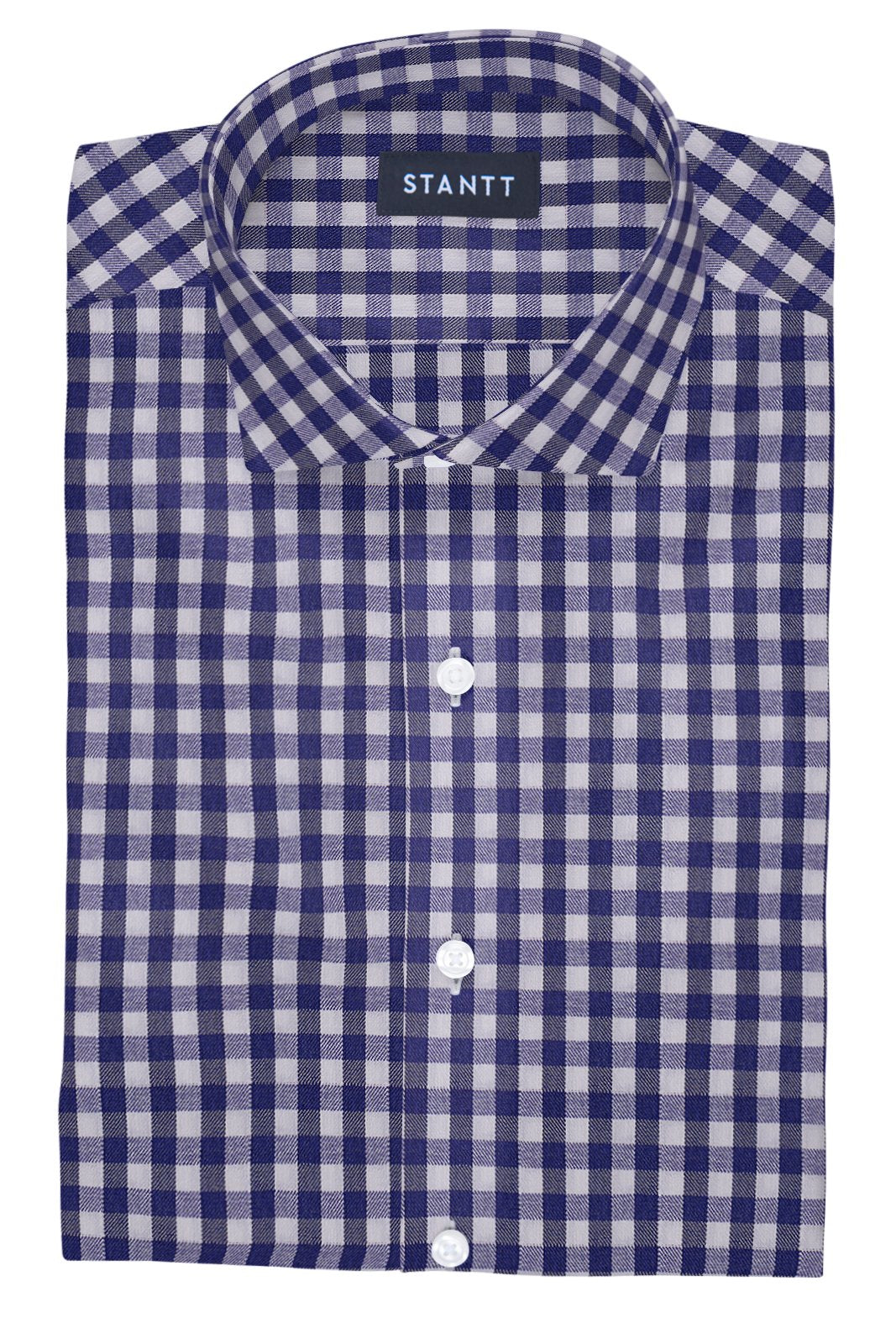 Performance Indigo Gingham: Cutaway Collar, French Cuff