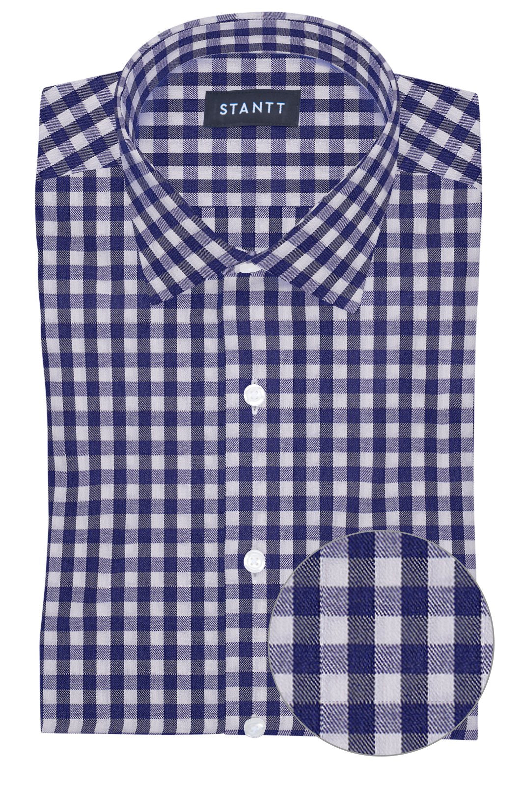 Performance Indigo Gingham: Modified-Spread Collar, Barrel Cuff