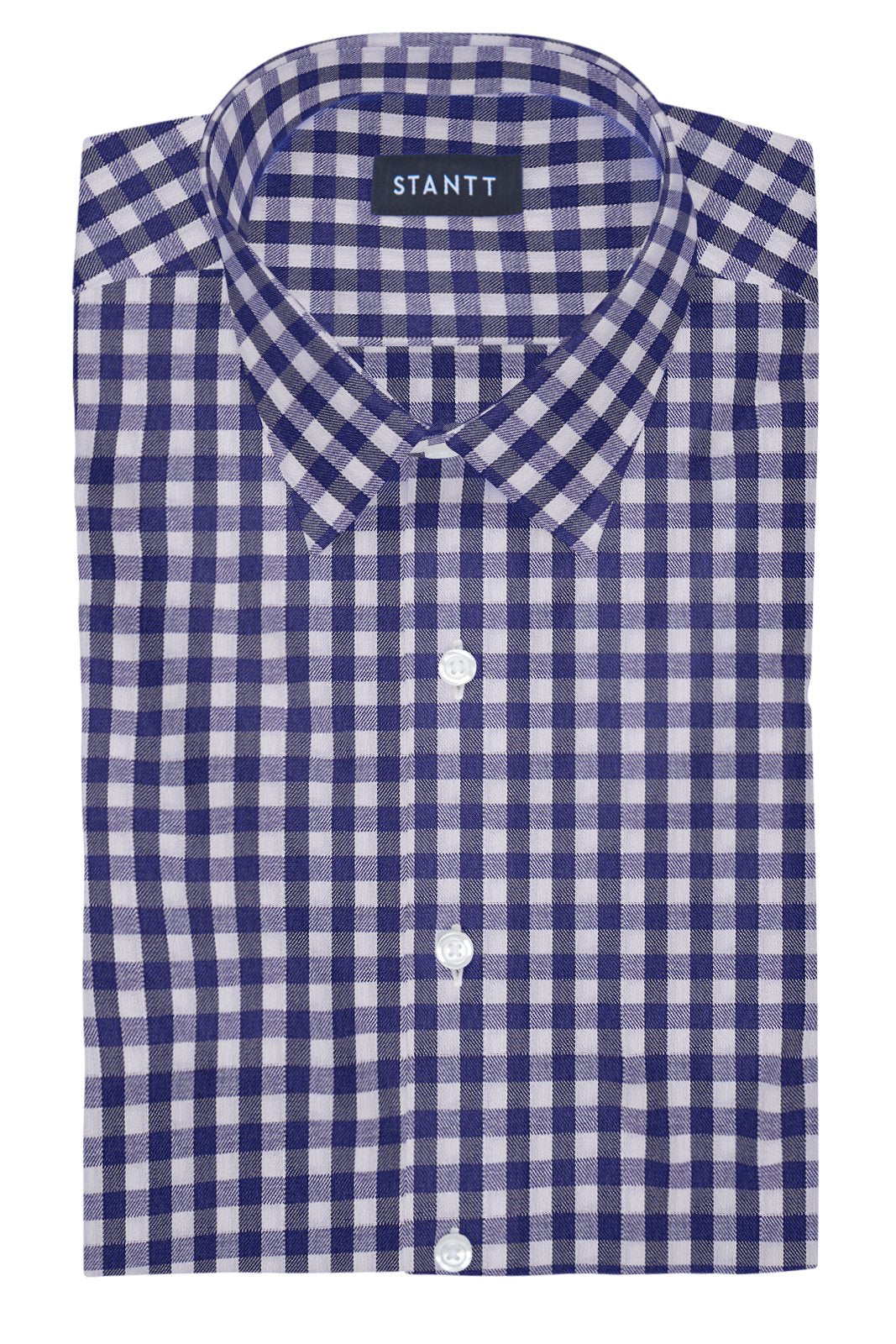 Performance Indigo Gingham: Semi-Spread Collar, Barrel Cuff