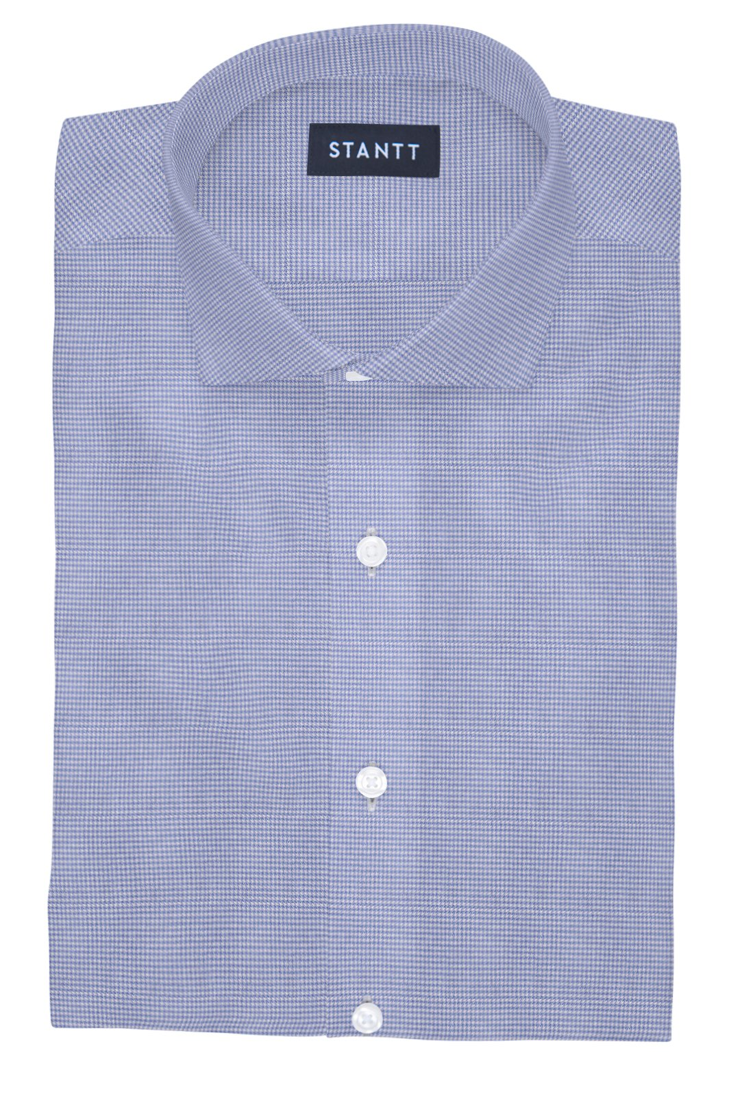 Performance Light Blue Houndstooth: Cutaway Collar, French Cuff