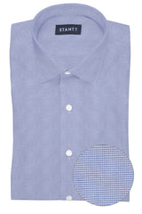 Performance Light Blue Houndstooth: Modified-Spread Collar, Barrel Cuff