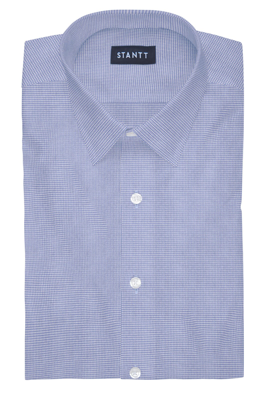 Performance Light Blue Houndstooth: Semi-Spread Collar, French Cuff