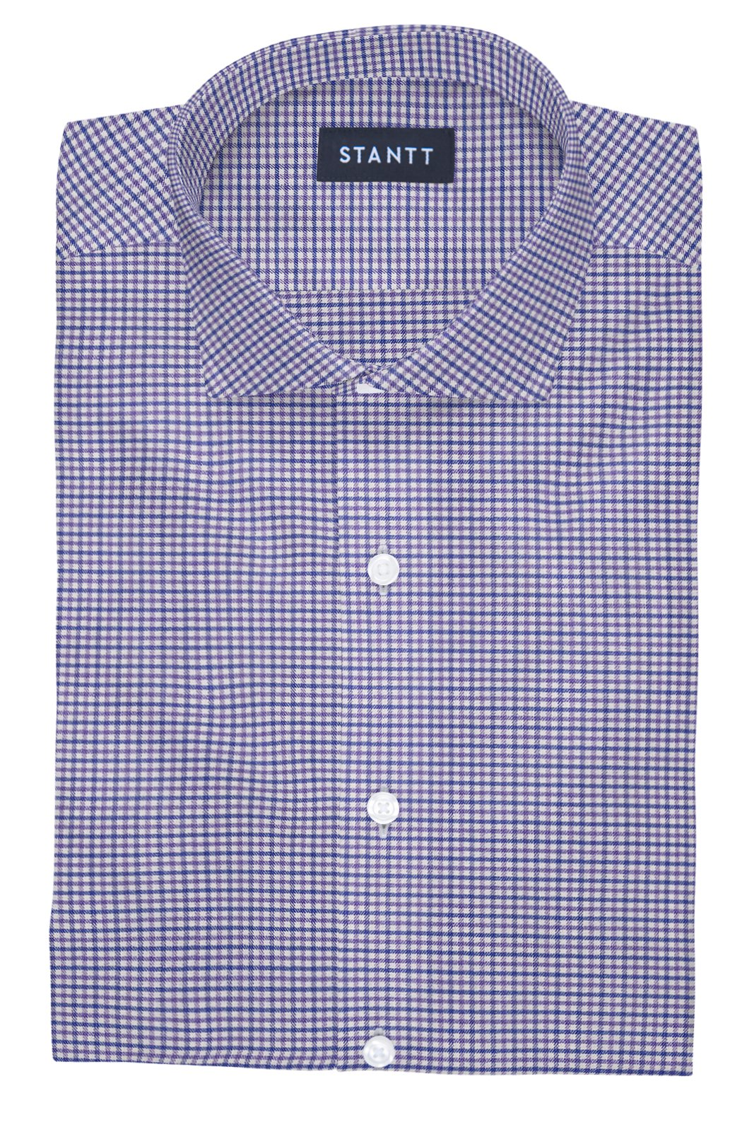 Performance Purple and Blue Mini Gingham: Cutaway Collar, French Cuff