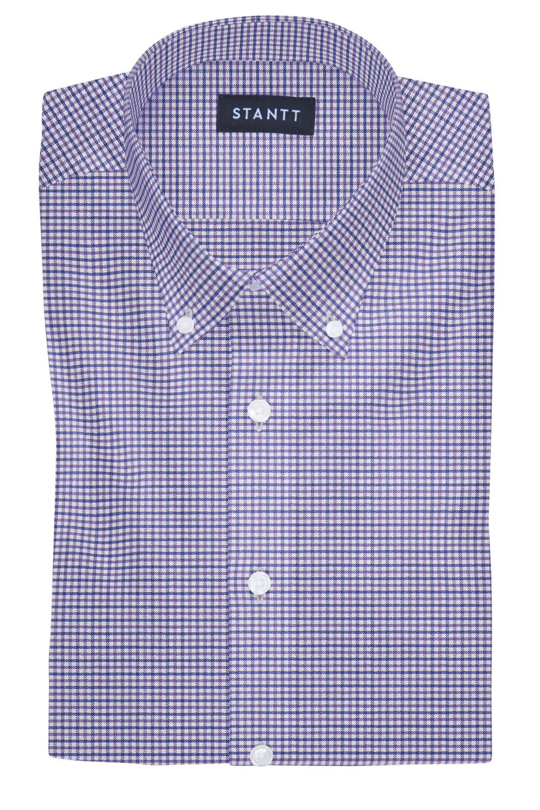 Performance Purple and Blue Mini Gingham: Button-Down Collar, Barrel Cuff
