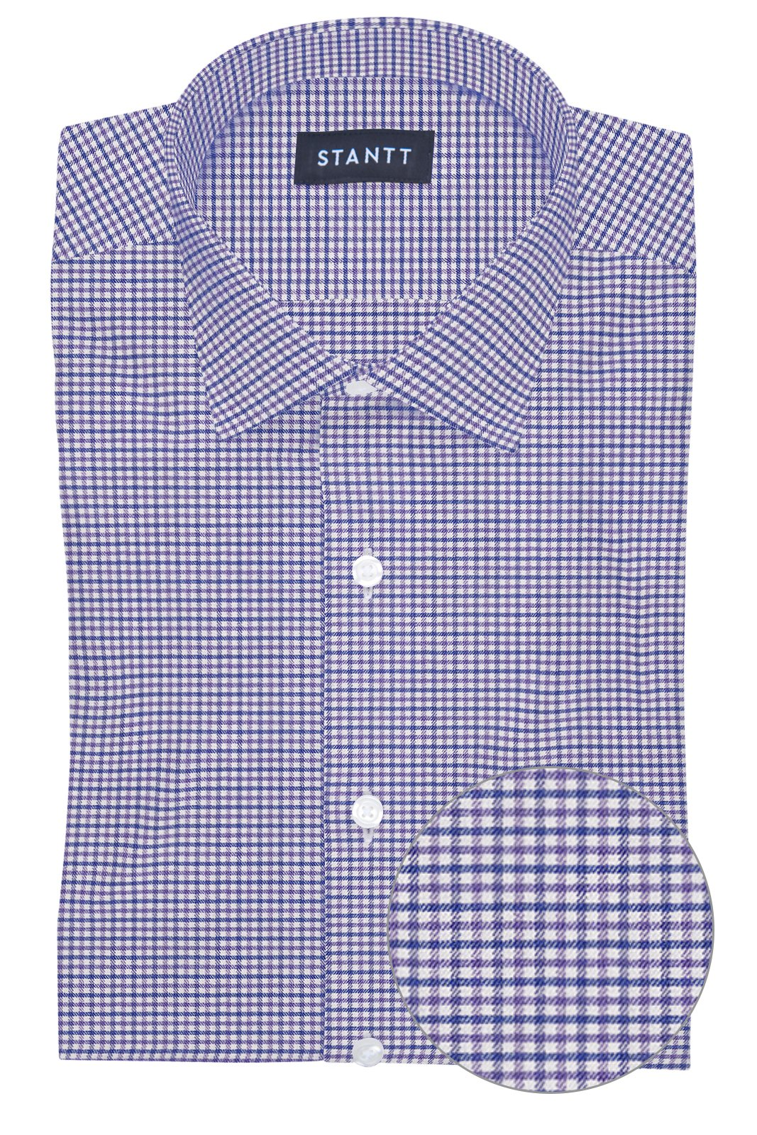 Performance Purple and Blue Mini Gingham: Modified-Spread Collar, Barrel Cuff
