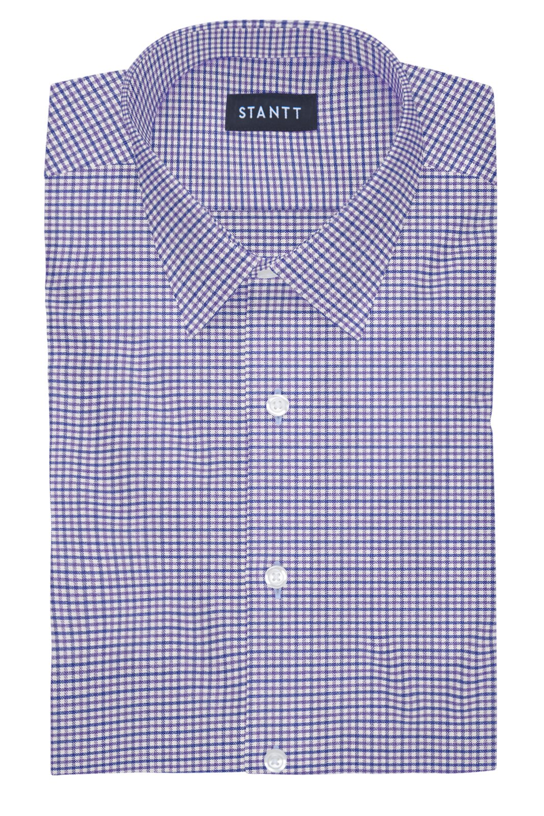 Performance Purple and Blue Mini Gingham: Semi-Spread Collar, Barrel Cuff