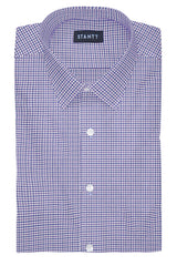 Performance Purple and Blue Mini Gingham: Semi-Spread Collar, French Cuff