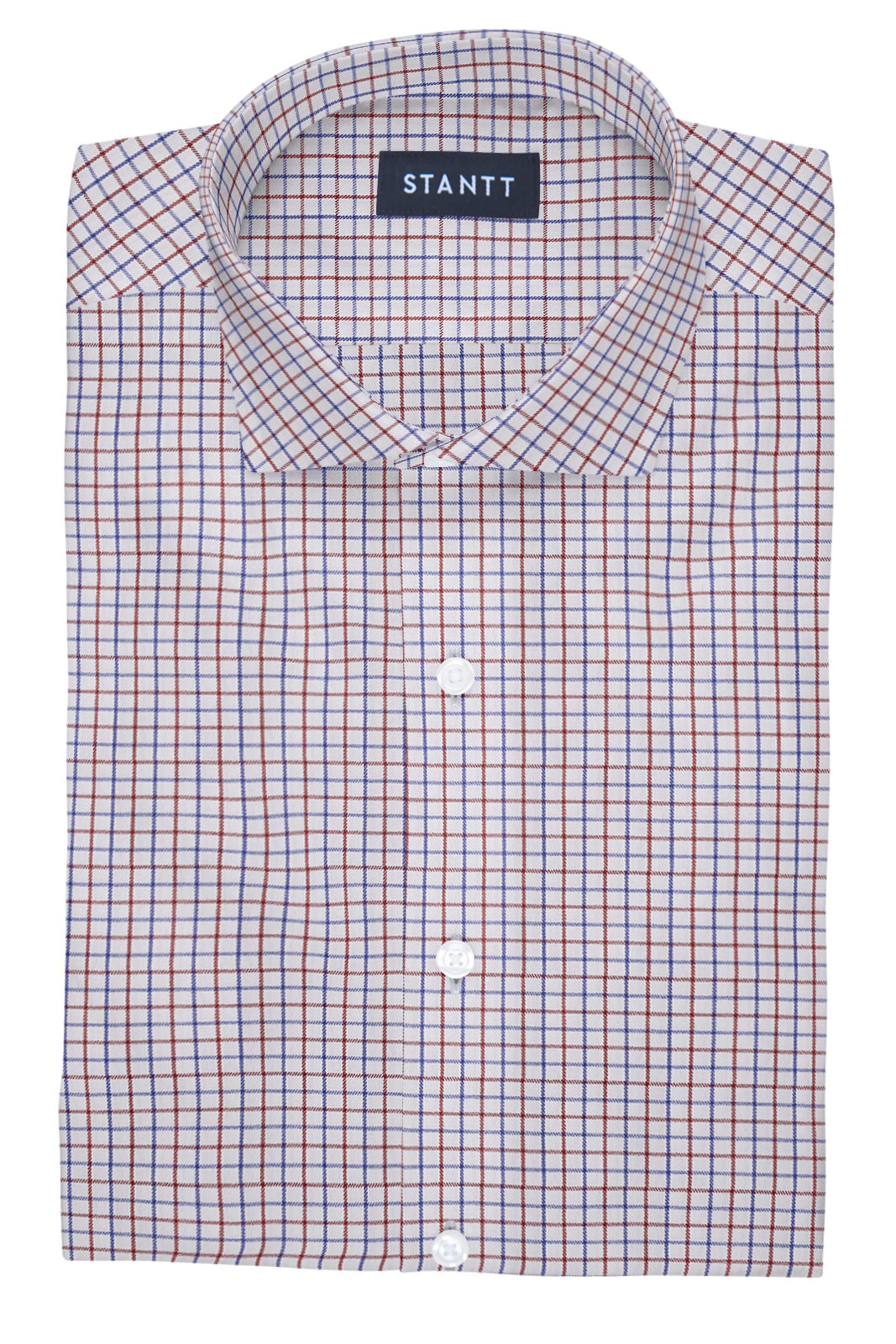 Performance Red and Blue Grid Check: Cutaway Collar, Barrel Cuff