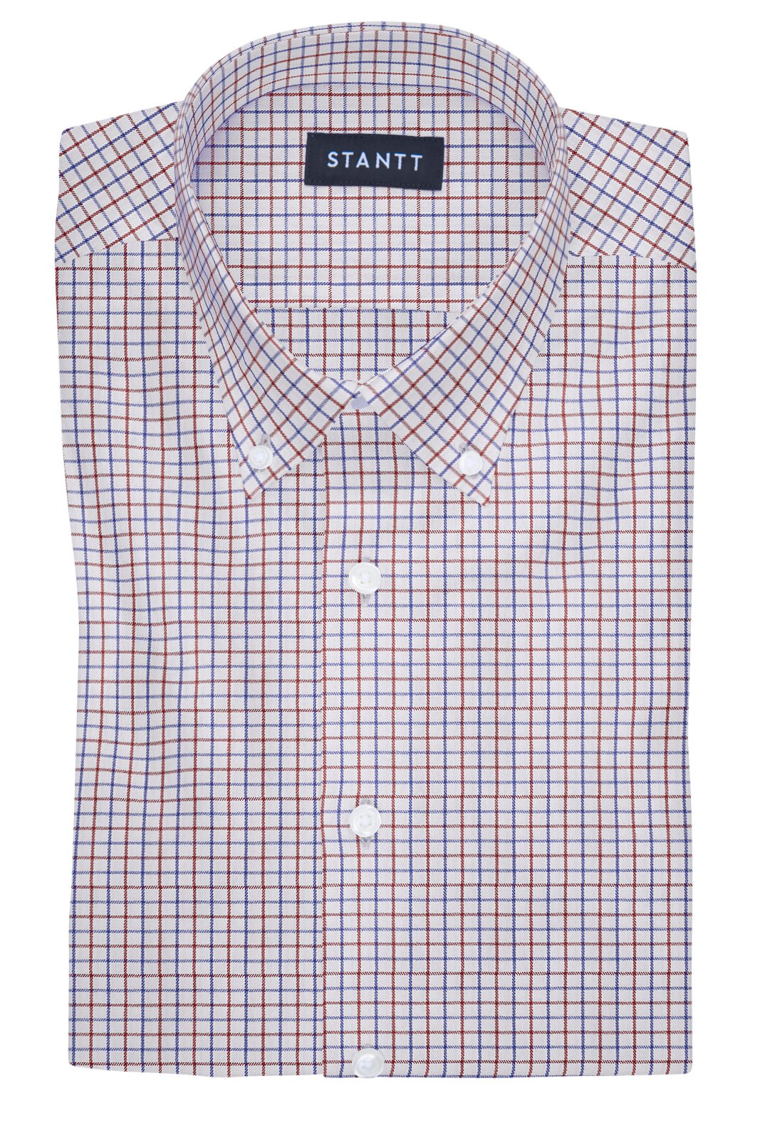 Performance Red and Blue Grid Check: Button-Down Collar, Barrel Cuff
