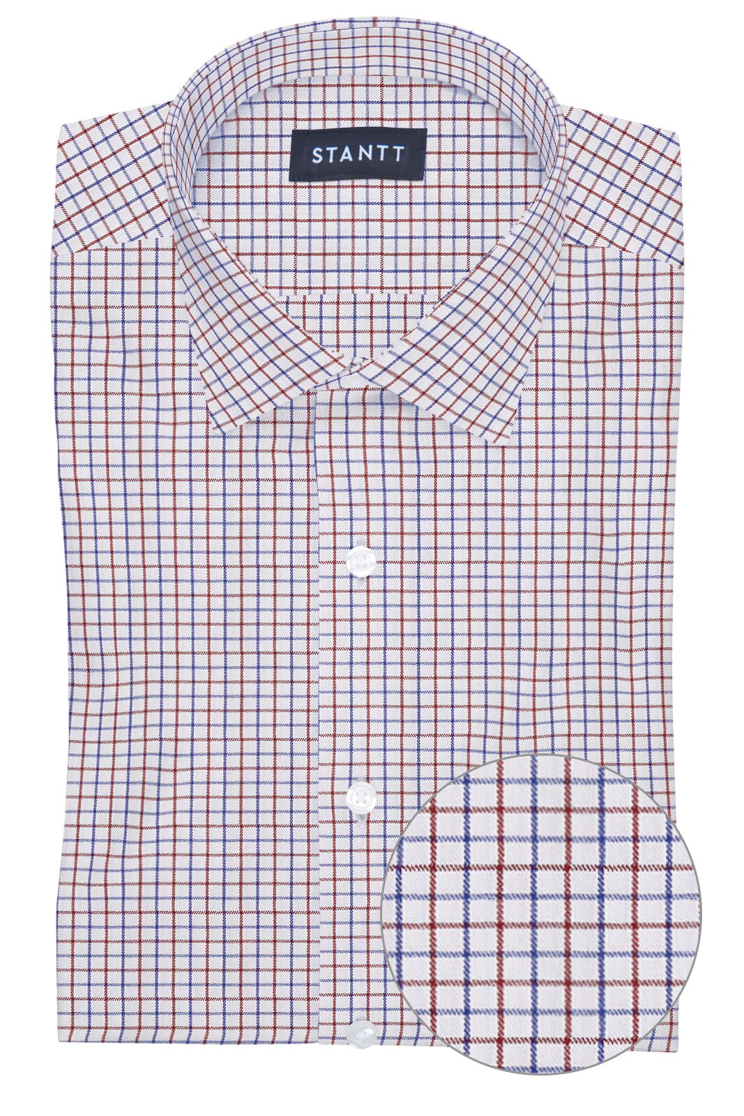 Performance Red and Blue Grid Check: Modified-Spread Collar, French Cuff