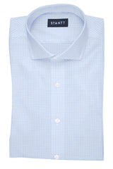 Powder Blue Grid Check: Cutaway Collar, French Cuff