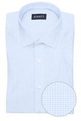Powder Blue Grid Check: Modified-Spread Collar, Barrel Cuff