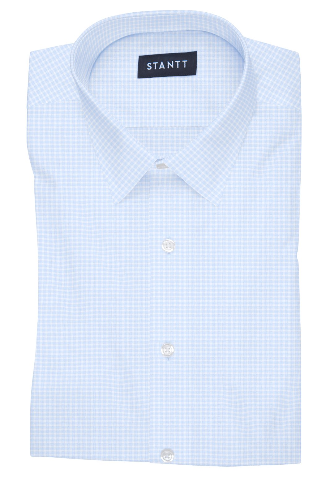 Powder Blue Grid Check: Semi-Spread Collar, Barrel Cuff