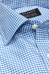 Royal Blue Gingham: Modified Spread Collar, French Cuff
