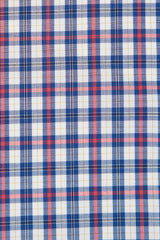 Red Mini Tartan Check: Semi-Spread Collar, French Cuff