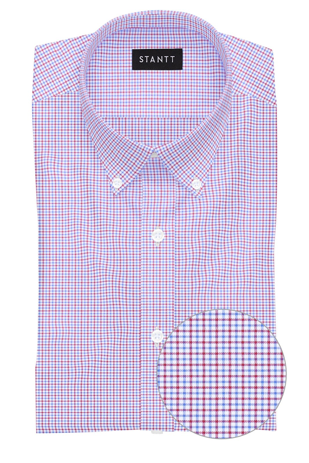 Red and Blue Mini Tattersall: Button-Down Collar, Barrel Cuff