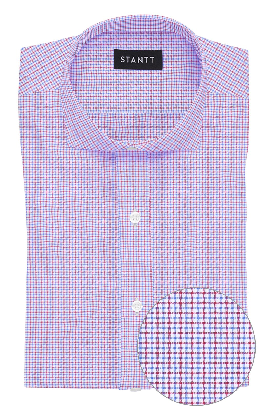 Red and Blue Mini Tattersall: Cutaway Collar, Barrel Cuff