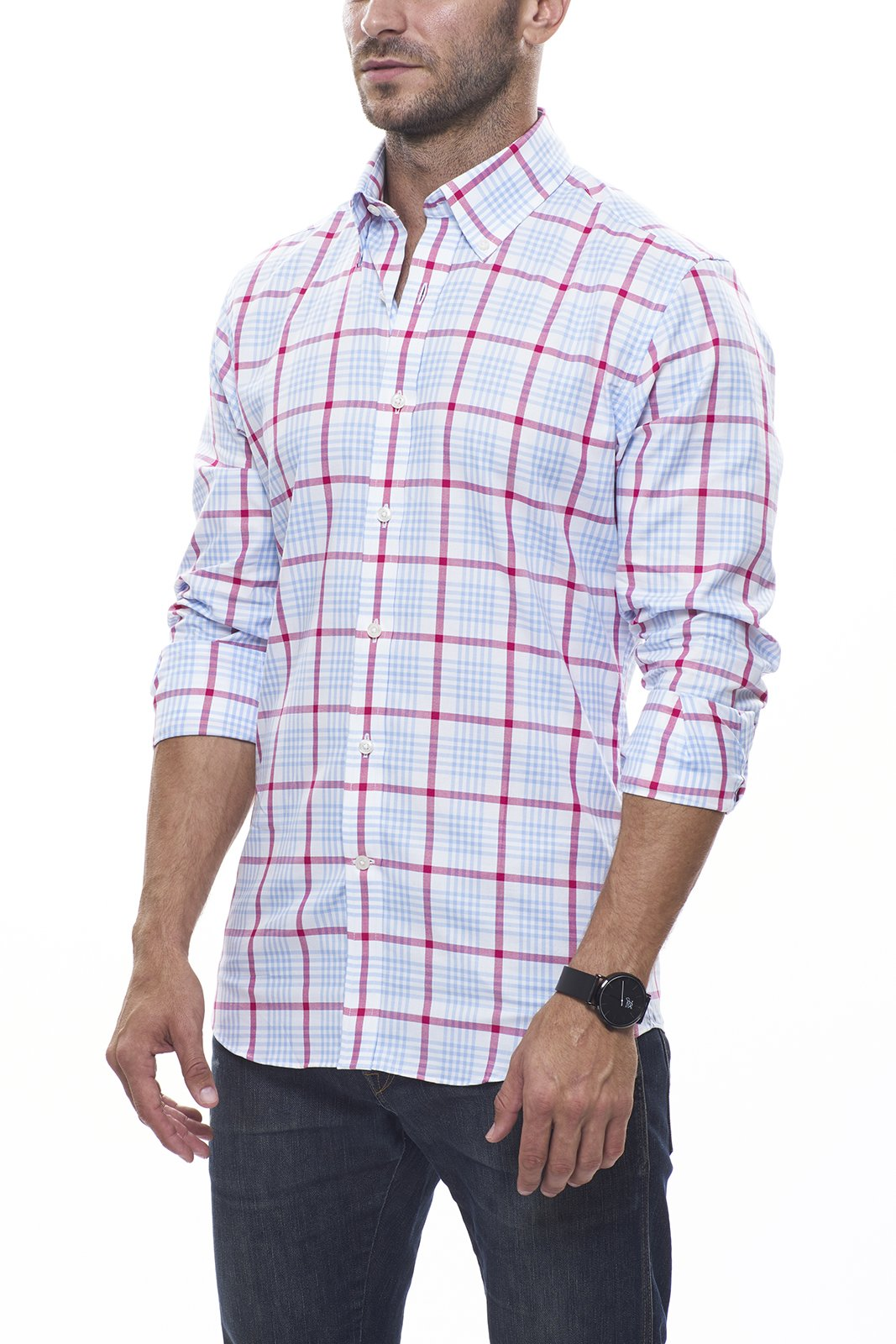 Red and Light Blue Oversized Plaid Oxford: Semi-Spread Collar, French Cuff
