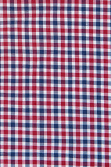 Red and Navy Club Check Oxford: Semi-Spread Collar, Barrel Cuff