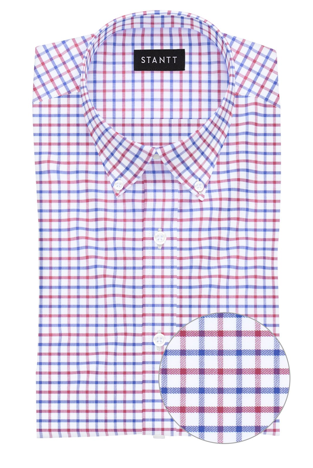 Red and Navy Tattersall: Button-Down Collar, Barrel Cuff
