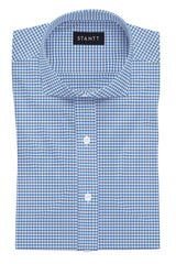 Royal Blue Gingham: Cutaway Collar, Barrel Cuff