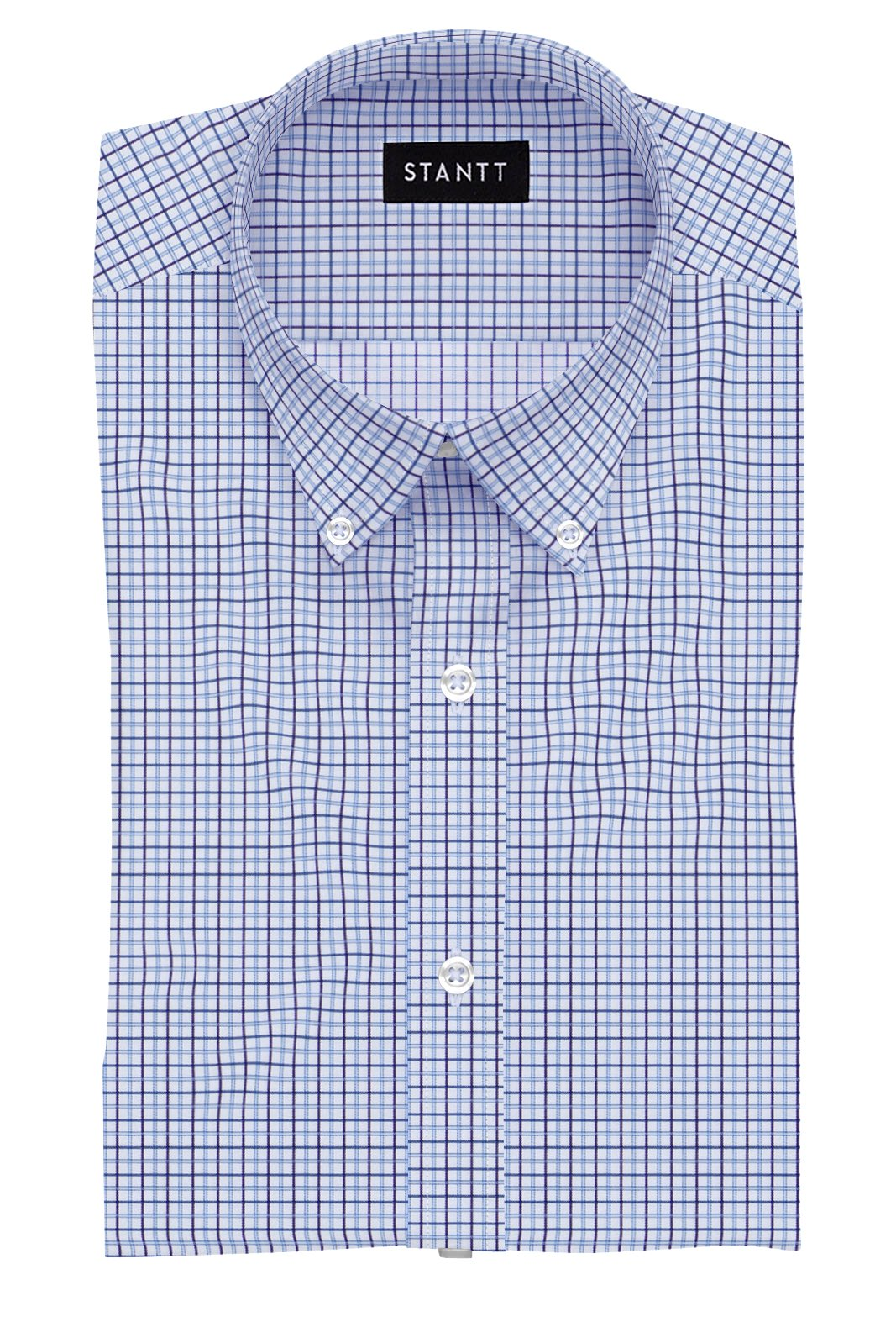 Royal Purple and Light Blue Tattersall: Button-Down Collar, Barrel Cuff