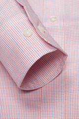 Crimson Red Grid Check: Semi-Spread Collar, Barrel Cuff