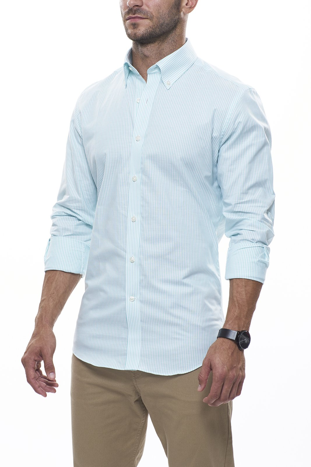 Seafoam Striped Oxford: Semi-Spread Collar, French Cuff