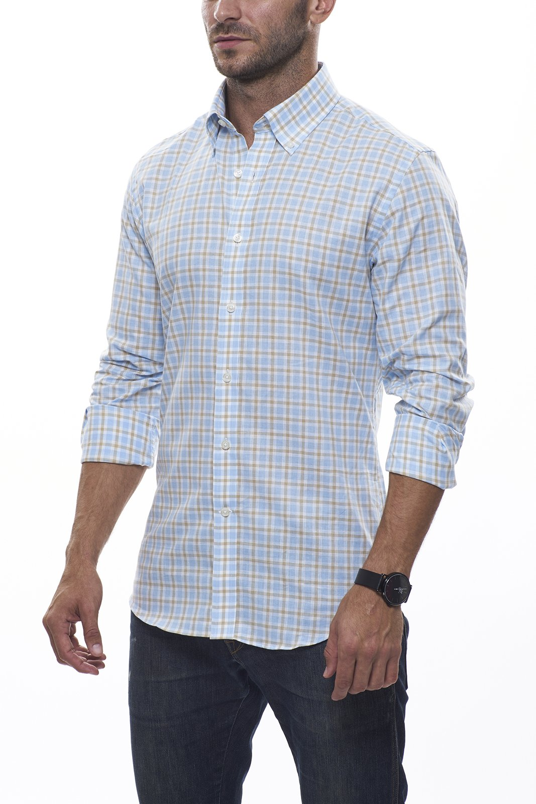 Shoreline Plaid Linen: Semi-Spread Collar, Barrel Cuff