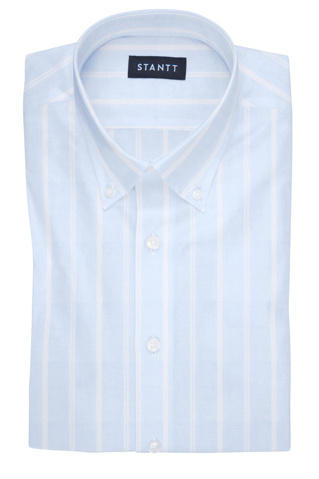 Sky Blue French Stripe Linen: Modified-Spread Collar, Barrel Cuff