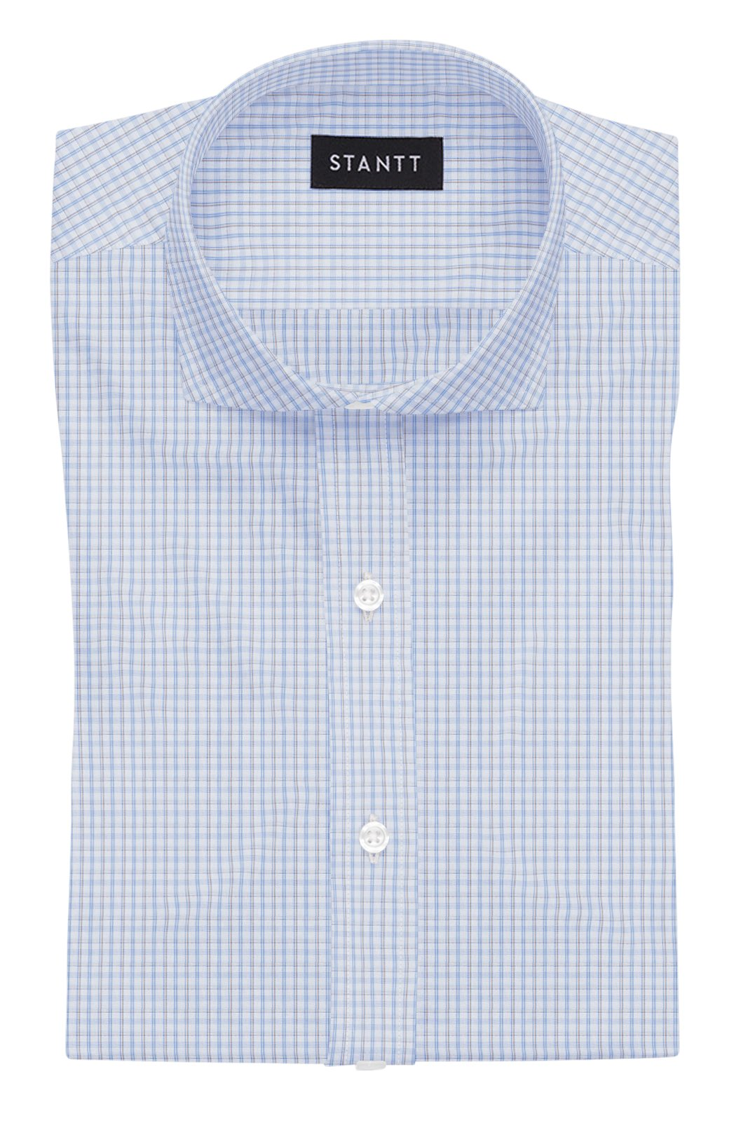 Wrinkle-Resistant Light Blue and Brown Bordered Tattersall: Cutaway Collar, French Cuff