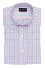 Wrinkle-Resistant Light Blue and Pink Bordered Tattersall: Cutaway Collar, Barrel Cuff