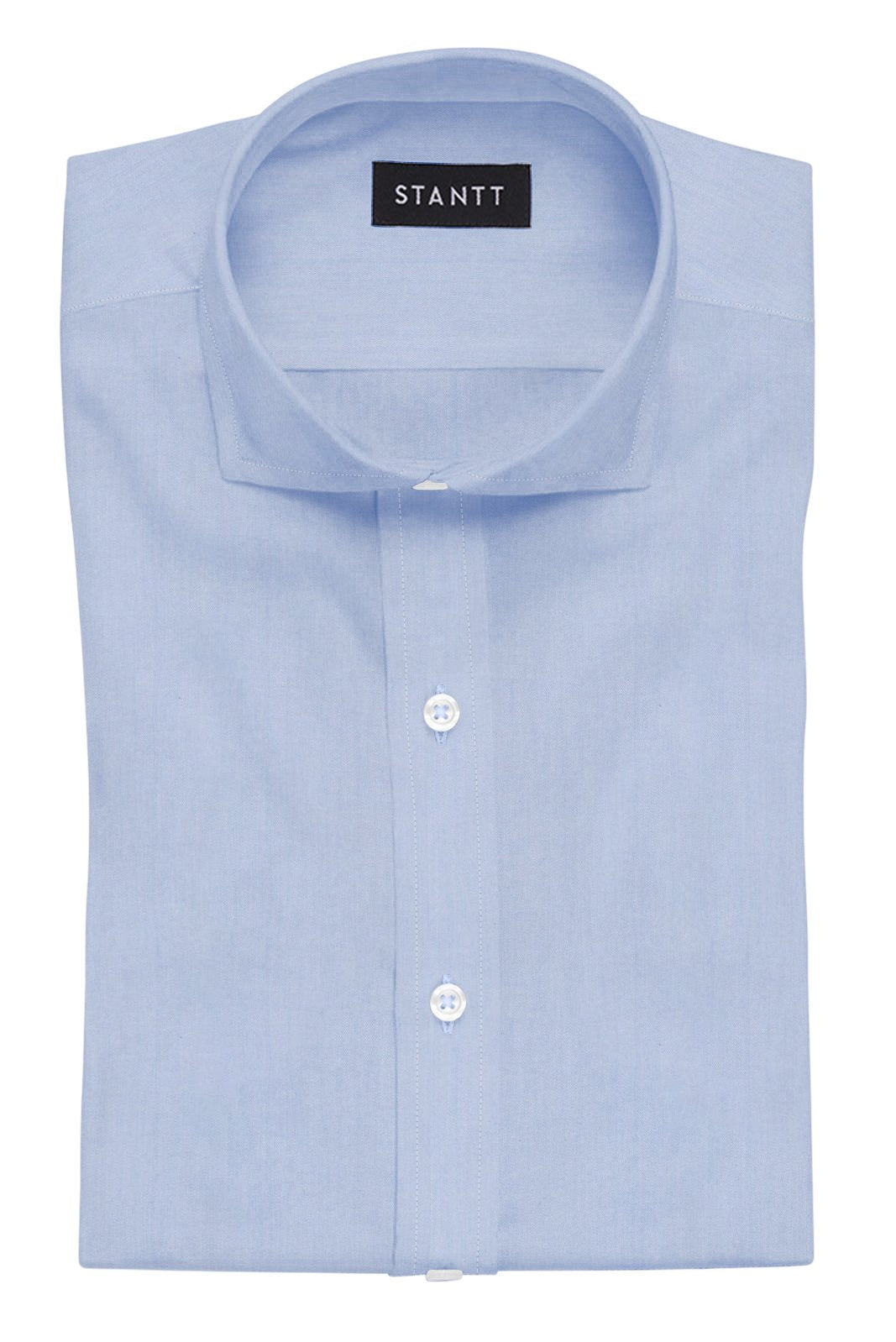 Wrinkle-Resistant Light Blue Twill: Cutaway Collar, French Cuff