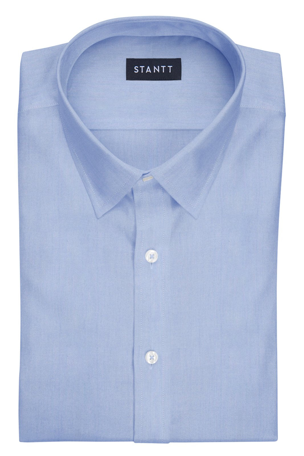 Wrinkle-Resistant Light Blue Twill: Semi-Spread Collar, Barrel Cuff