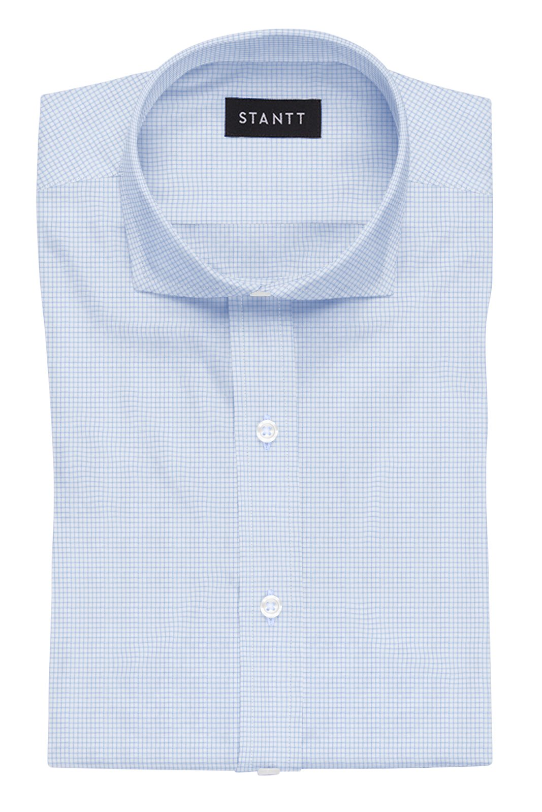 Wrinkle-Resistant Light Blue Accented Mini-Check: Cutaway Collar, French Cuff