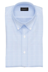 Wrinkle-Resistant Sky Blue Glen Plaid: Button-Down Collar, Barrel Cuff