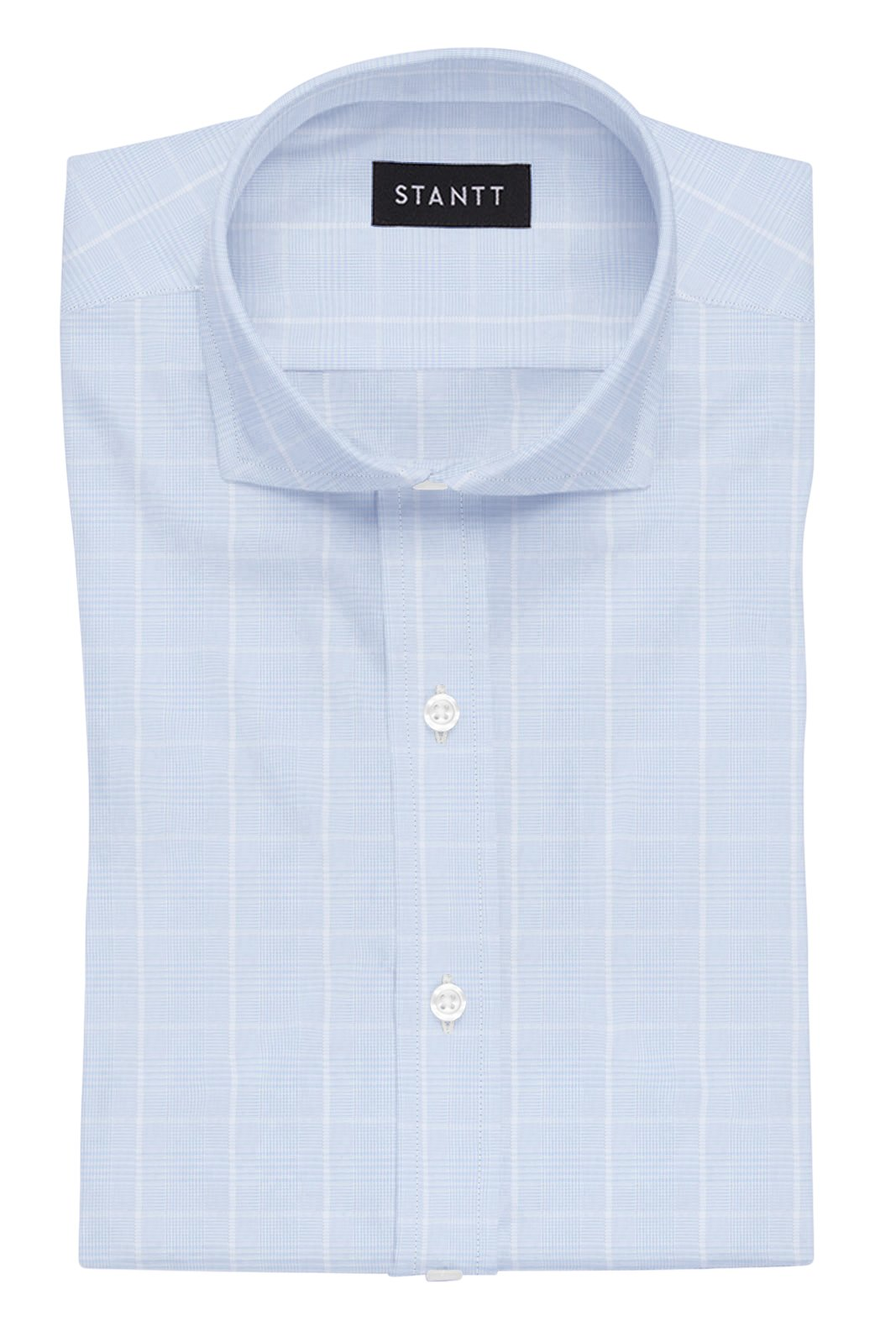 Wrinkle-Resistant Sky Blue Glen Plaid: Cutaway Collar, French Cuff