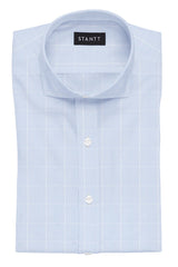 Wrinkle-Resistant Sky Blue Glen Plaid: Cutaway Collar, Barrel Cuff