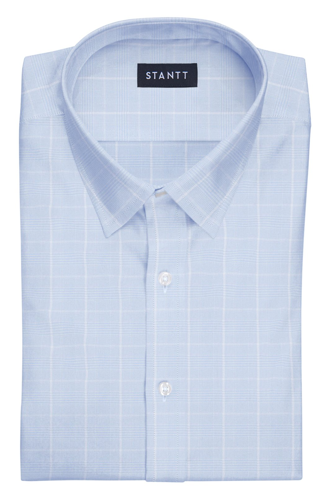 Wrinkle-Resistant Sky Blue Glen Plaid: Semi-Spread Collar, Barrel Cuff